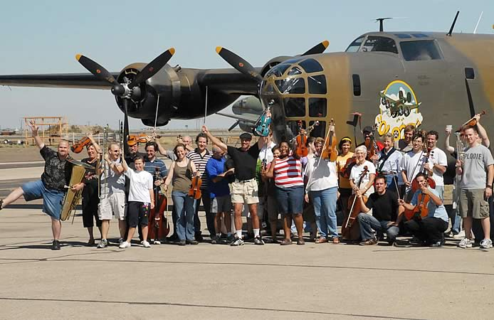 Doug with Midland Odessa Symphony at the Commemorative Air Force Hangar